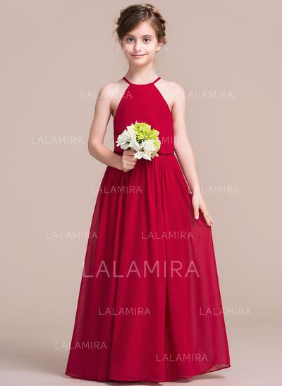 Forme Princesse Longueur ras du sol Robes à Fleurs pour Filles - Mousseline Sans manches Col rond (010113821)