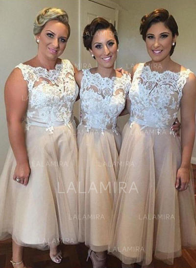A-Line/Princess Knee-Length Tulle Scoop Neck Bridesmaid Dresses (007211682)