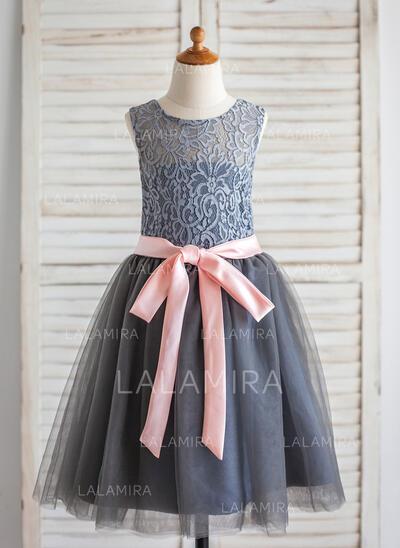 Forme Princesse Longueur genou Robes à Fleurs pour Filles - Tulle/Dentelle Sans manches Col rond avec Ceintures/À ruban(s) (010092596)