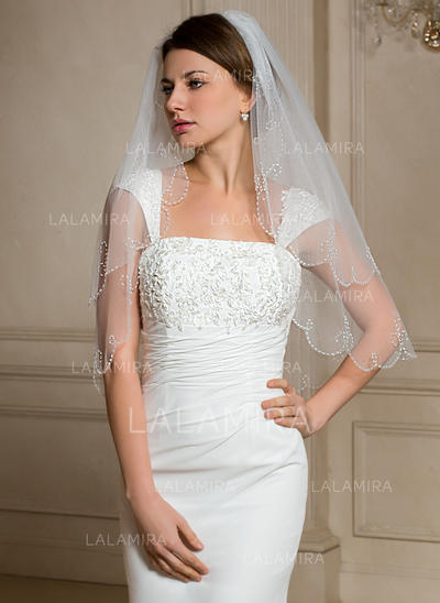 Elbow Bridal Veils Tulle Two-tier Classic With Beaded Edge Wedding Veils (006150997)