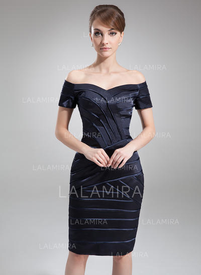 Luxurious Off-the-Shoulder Sheath/Column Charmeuse Mother of the Bride Dresses (008211216)