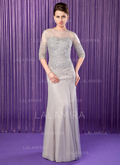 Trumpet/Mermaid Scoop Neck Floor-Length Chiffon Mother of the Bride Dress With Beading Sequins (008019704)