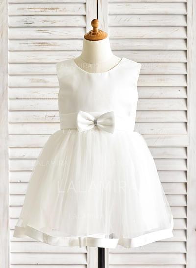 Vestidos princesa/ Formato A Coquetel Vestidos de Menina das Flores - Cetim/Tule Sem magas Decote redondo com Cintos/Curvado (010091886)