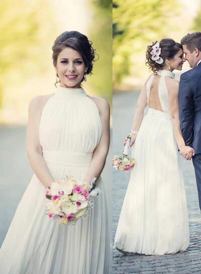 Halter Chiffon Sleeveless Stunning Wedding Dresses (002147935)