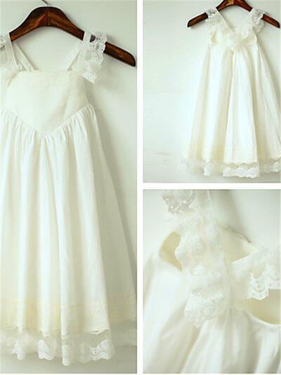 Straps A-Line/Princess Flower Girl Dresses Chiffon Ruffles Sleeveless Tea-length (010211833)