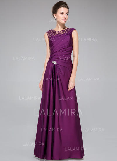 A-Line/Princess Lace Satin Chiffon Sleeveless Scoop Neck Floor-Length Zipper Up Mother of the Bride Dresses (008211107)