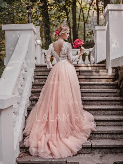 Court Train Ball-Gown Sleeves - Tulle Wedding Dresses (002144950)