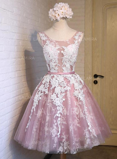 Sash Appliques Bow(s) A-Line/Princess Knee-Length Organza Homecoming Dresses (022216294)