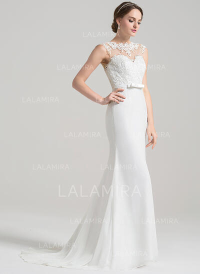 Trumpet/Mermaid Illusion Sweep Train Chiffon Lace Wedding Dress With Bow(s) (002084766)