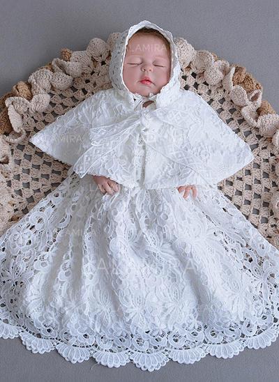 Dentelle Col rond Robes de baptême bébé fille avec 1/2 manches (2001218028)
