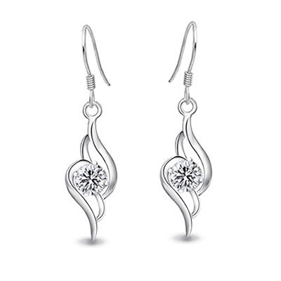 øredobber Sterling Sølv/Kubikk Zirkonia Gjennomboret Damene ' Elegant Bryllup- & Festsmykker (011037001)