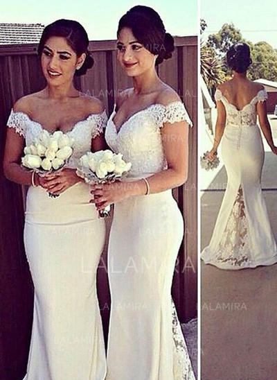 Trumpet/Mermaid Off-the-Shoulder Sweep Train Satin Bridesmaid Dresses (007217600)