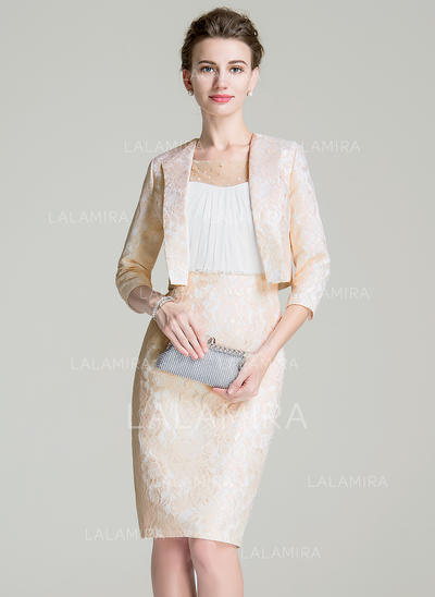 Elegant Knee-Length Sheath/Column Chiffon Lace Mother of the Bride Dresses (008211130)
