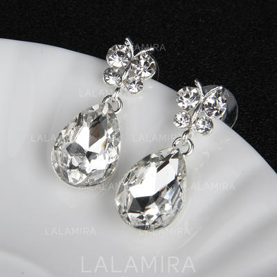 Earrings Alloy/Rhinestones Rhinestone Pierced Ladies' Wedding & Party Jewelry (011167853)
