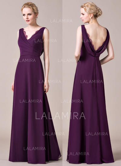 A-Line/Princess Chiffon Bridesmaid Dresses Ruffle Lace V-neck Sleeveless Floor-Length (007198833)