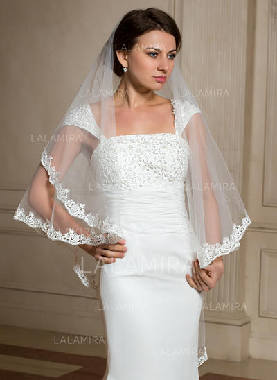 Waltz Bridal Veils Tulle One-tier Angel cut/Waterfall With Lace Applique Edge Wedding Veils (006150998)