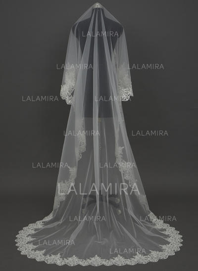Cathedral Bridal Veils Tulle One-tier Drop Veil With Lace Applique Edge Wedding Veils (006151257)