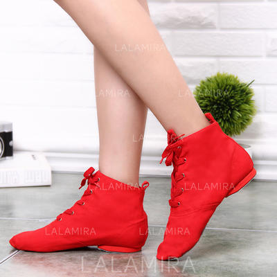 Women's Jazz Boots Canvas With Lace-up Dance Shoes (053181632)