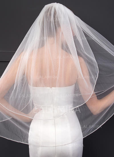 Elbow Bridal Veils Two-tier Classic With Cut Edge With Rhinestones Wedding Veils (006152548)