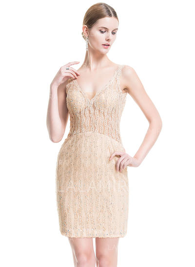 Sheath/Column V-neck Short/Mini Lace Cocktail Dress With Beading Sequins (016076157)