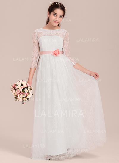 A-Line/Princess Floor-length Flower Girl Dress - Satin/Lace 3/4 Sleeves Scoop Neck With Flower(s) (010144529)