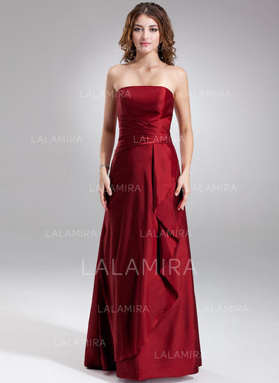 Sheath/Column Taffeta Bridesmaid Dresses Cascading Ruffles Strapless Sleeveless Floor-Length (007001734)