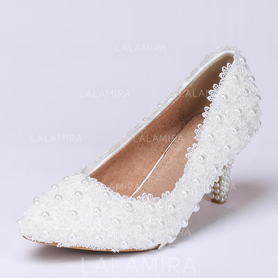 Women's Closed Toe Pumps Low Heel Lace Wedding Shoes (047205910)