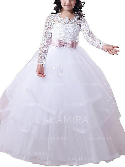 Scoop Neck Ball Gown Flower Girl Dresses Tulle Sash/Appliques Long Sleeves Floor-length (010211735)