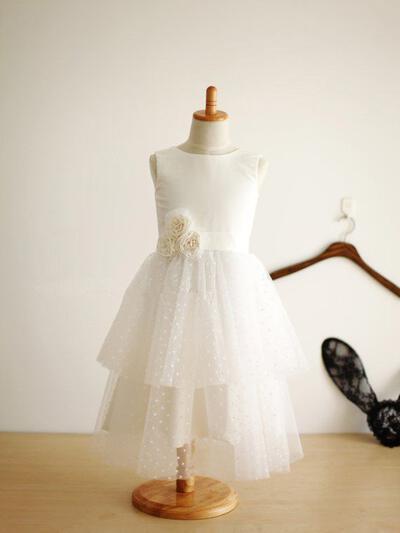 Scoop Neck A-Line/Princess Flower Girl Dresses Satin/Tulle Flower(s) Sleeveless Tea-length (010211975)