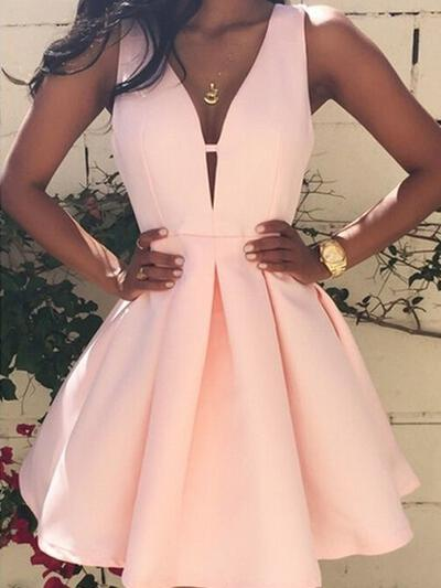 Fashion Satin Homecoming Dresses A-Line/Princess Short/Mini V-neck Sleeveless (022212262)
