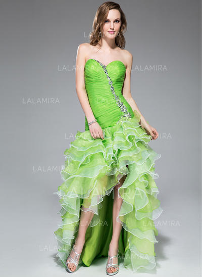 A-Line/Princess Sweetheart Asymmetrical Prom Dresses With Beading Sequins Cascading Ruffles (018043240)