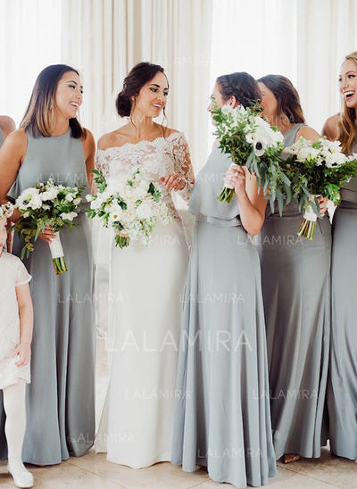 A-Line/Princess Cascading Ruffles Chiffon Sleeveless Bridesmaid Dresses (007145051)