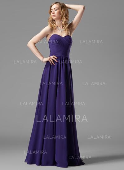 A-Line/Princess Sweetheart Floor-Length Chiffon Bridesmaid Dress With Ruffle (007004143)