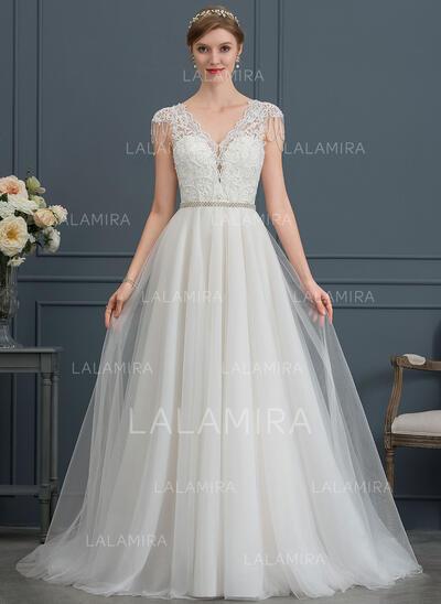 Corte A Decote V Cauda de sereia Tule Vestido de noiva com Beading lantejoulas (002171943)