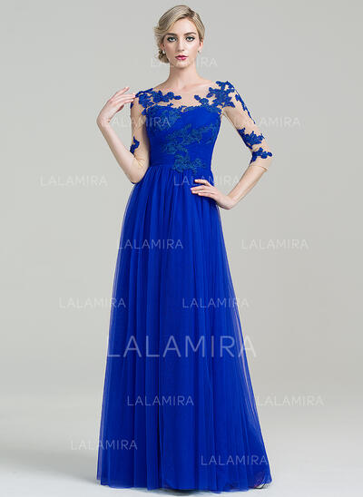 Vestidos princesa/ Formato A Decote redondo Longos Tule Vestido para a mãe da noiva com Pregueado Apliques de Renda (008085310)
