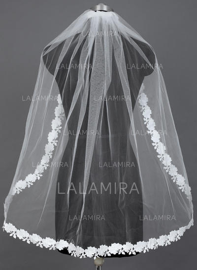 Fingertip Bridal Veils Tulle One-tier Oval/Mantilla With Lace Applique Edge Wedding Veils (006151571)