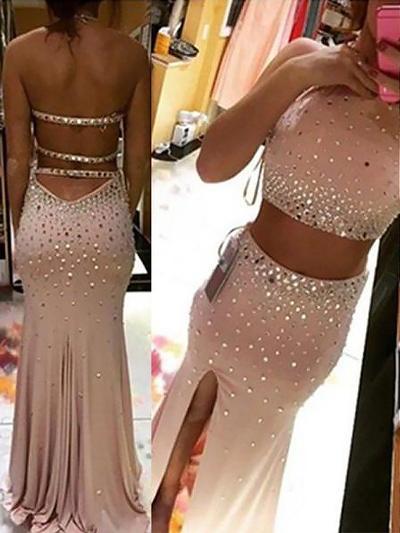 Jersey Halter Sheath/Column Delicate Prom Dresses (018210318)