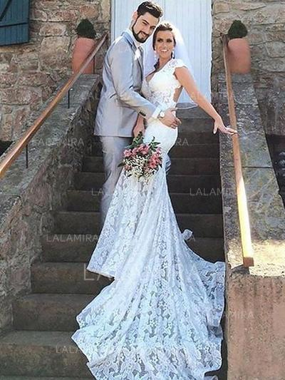 Sweetheart Trumpet/Mermaid - Lace Wedding Dresses (002210864)