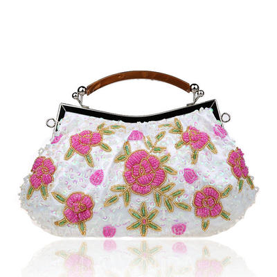 Clutches/Wristlets/Totes/Bridal Purse/Fashion Handbags/Makeup Bags/Luxury Clutches Wedding/Ceremony & Party/Casual & Shopping/Office & Career Lace Snap Closure Elegant Clutches & Evening Bags (012187899)