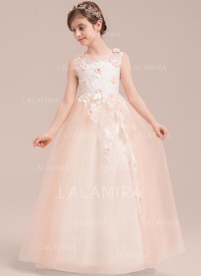 Ball Gown Floor-length Flower Girl Dress - Tulle/Lace Sleeveless Scoop Neck With Beading/Flower(s) (010143269)