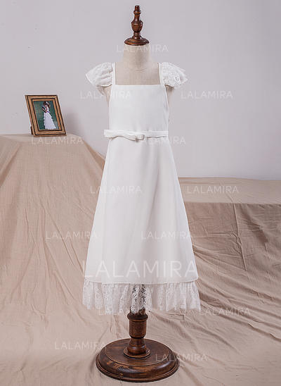 A-Line/Princess Square Neckline Tea-length With Bow(s) Chiffon Flower Girl Dresses (010212061)