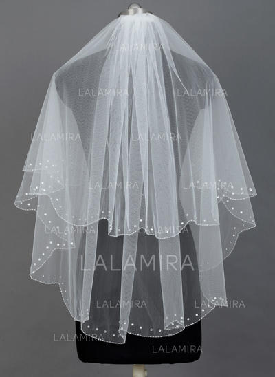 Elbow Bridal Veils Tulle Two-tier Classic With Pearl Trim Edge Wedding Veils (006151280)