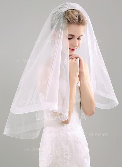 Elbow Bridal Veils Tissue Two-tier Mantilla With Ribbon Wedding Veils (006152298)