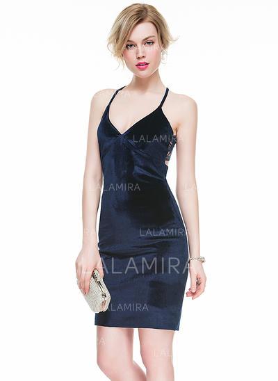 Encaje Vestido tubo Escote en V Terciopelo Baile de promoción (016077852)