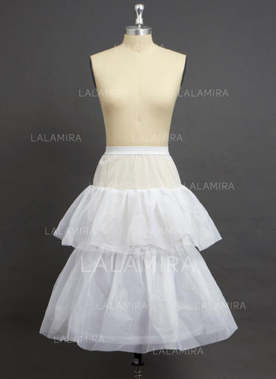 Petticoats Knee-length Nylon/Tulle Netting Full Gown Slip/Flower Girl Slip 2 Tiers Petticoats (037190760)