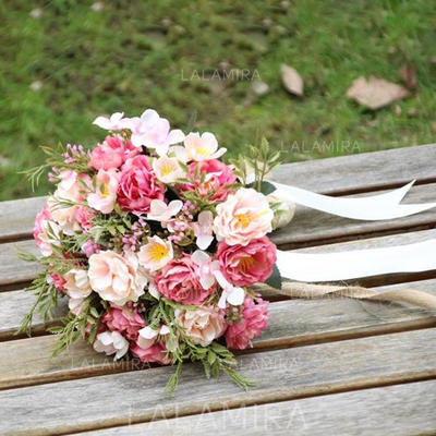 """Bridal Bouquets/Bridesmaid Bouquets Hand-tied Wedding/Party Satin 9.84""""(Approx.25cm) Wedding Flowers (123189889)"""