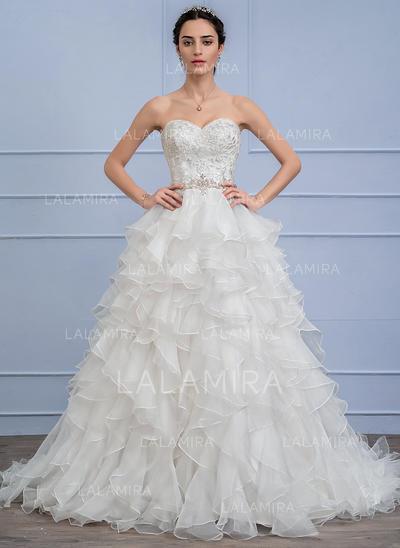 Cuentas Cascada de volantes Corte de baile - Organdí Encaje Vestidos de novia (002106063)