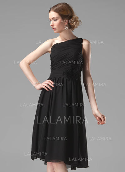 Black One Shoulder Knee Length Bridesmaid Dresses