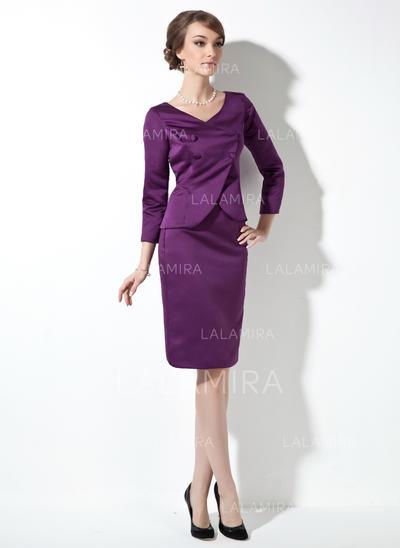 Sheath/Column Satin Long Sleeves V-neck Knee-Length Zipper Up Mother of the Bride Dresses (008211235)