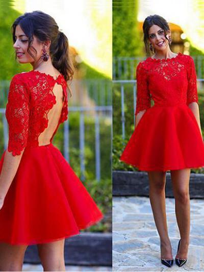 A-Line/Princess Scoop Neck Short/Mini Homecoming Dresses (022212252)